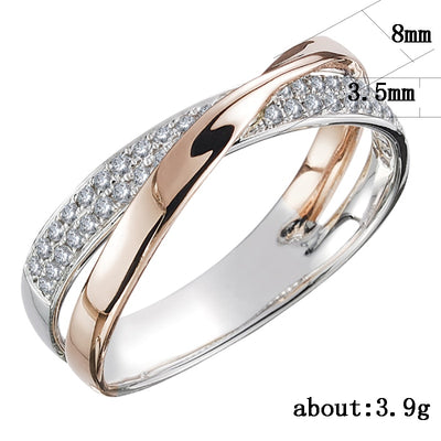 Two Tone X Shape Cross Ring for Women Wedding Trendy Jewelry Dazzling CZ Stone