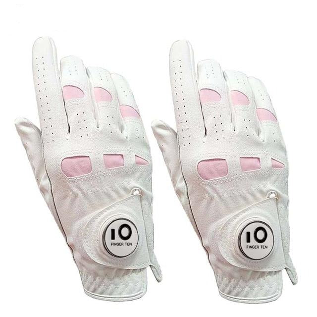 2 Pack Leather White Soft Women Golf Gloves with Ball Marker Left Right Hand Extra Grip Ladies Girls