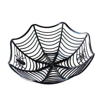 Halloween Black Spider Web Bowl Fruit Plate Candy Biscuit Package Basket Bowl Trick or Treat Decor for Halloween Party Supplies