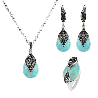 Leaf Water Drop Faux Pendant Necklace Ring Earrings Women Jewelry Set Gifts Vintage Red Green Color Natural Stone Pendant