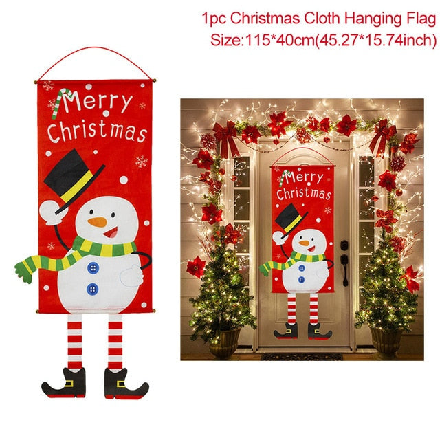 Merry Christmas Porch Door Banner Hanging Ornament Christmas Decoration for Home Xmas Happy New Year