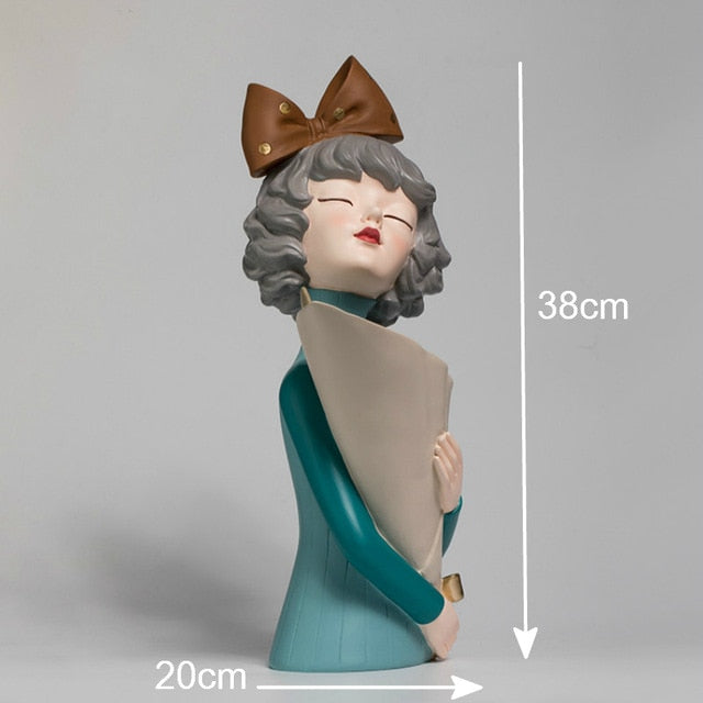 Cute Girl Statue Sculpture Crafts Creative Flower Arrangement Modern Home Decoration Wedding Gifts
