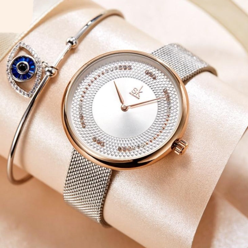 Fashion Rhinestone Women Quartz Watches Luxury Brand for Lady Casual Business Clock Waterproof