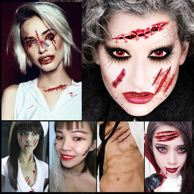 30pcs /Set Halloween Horror Tattoo Sticker For Party Scary Waterproof  Lifelike Fake Bloody Wound Tattoo Sticker Decoration
