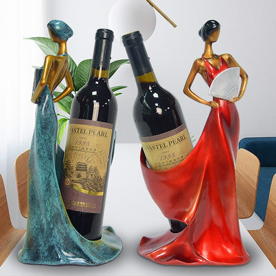 Resin Beauty Girl Model Wine Holder Home Decoration Wine Racks Handmade Home Bar Kitchen Accessories