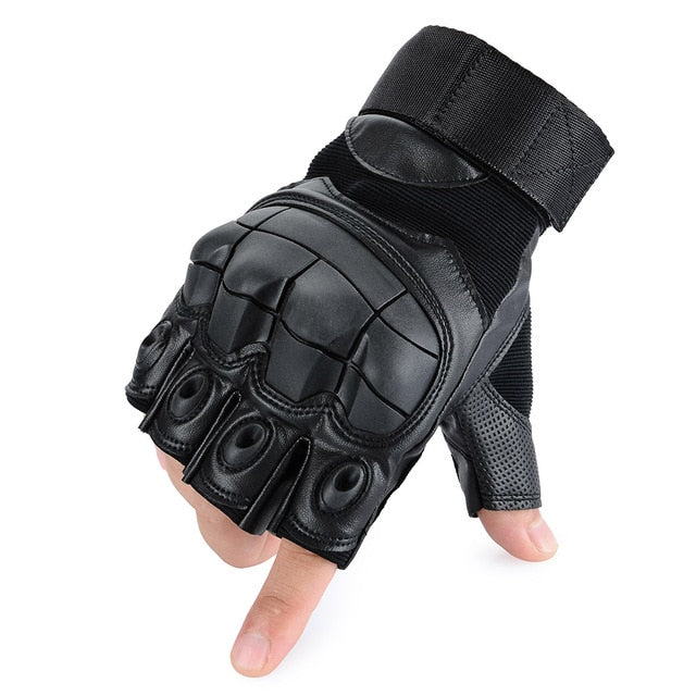 PU Leather Motorcycle Half Finger Glove Motorbike Motocross Moto Hard Knuckle Fingerless Riding Biker Protective Gear