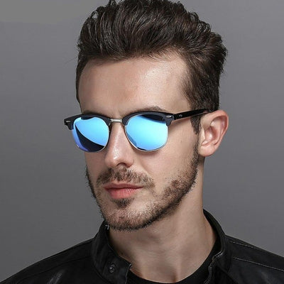 Vintage Polar Rays Sunglass for Driving Brand Retro Round Sun Glasses Male Black Eyewear Polarized Sunglasses