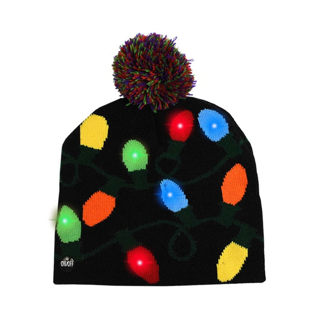 LED Christmas Hat Sweater Knitted Beanie Christmas Light Up Knitted Hat Christmas Gift for Kids Xmas  New Year Decorations