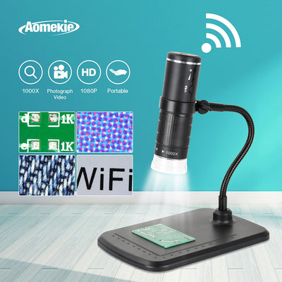 1000X Digital WIFI Microscope 8 LED 800mAh Rechargeable 1080P Smart Phone Microscope Camera Video for PCB Slides Watching