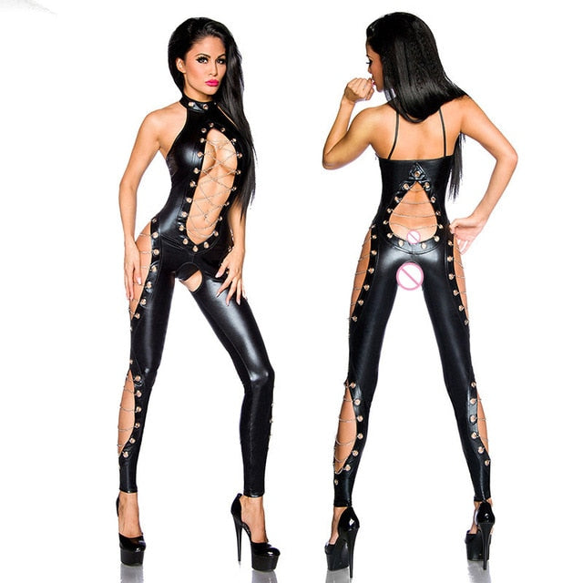 Black New Fashion Women Skinny Pants Transparent Silk Faux Leather Chains Lace-Up Cross Steampunk Sexy Leggings