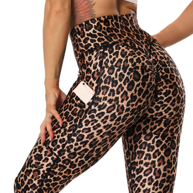 Fashion Snake Print Yoga Pants Elastic Animal Skin Sports Leggings Leopard Print Fitness Women Pants High Waist Gym Sportswear