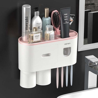 Toothbrush Holder Bathroom Accessories Set Toothpaste Squeezer Wall Mount Toiletries Storage Rack