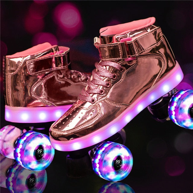 New LED Rechargeable 7 Colorful Flash Shoes Double Row 4 Wheel Roller Skates Outdoor for Men Women