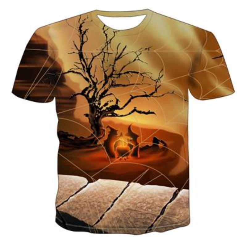 Halloween 3D Printing T-Shirt Punk Casual Funny T-Shirt Summer Short-Sleeved Men's T-Shirt