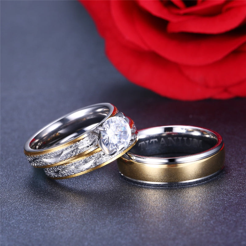 Couple Rings - Women Exquisite Rhinestones Zirconia Rings Set Simple Stainless Steel Men Ring Fashion Jewelry for Lover Gifts