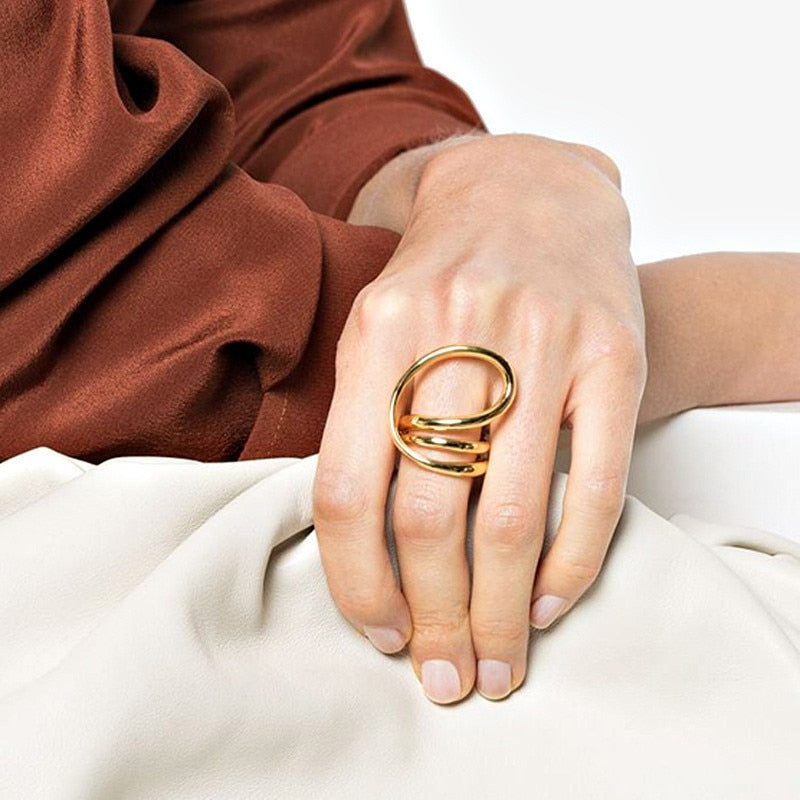 Gold Silver Color Geometry Twisted Metal Rings Minimalist Irregular Multi Finger Ring for Woman Men Jewelry