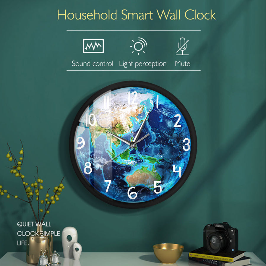 Planet Earth LED Wall Clock Sound-Activated Clock Night Light Metal Frame Sound Control Luminous Wall Clock Living Room Decor