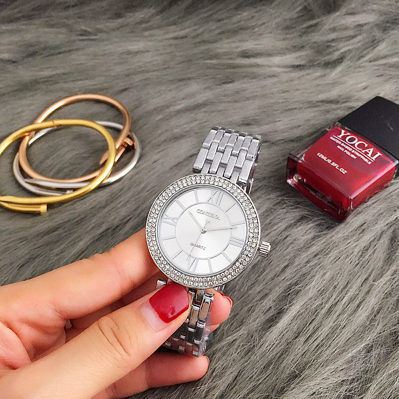 Watch Women Ladies Quartz Watch Full Stainless Steel Rhinestone Wristwatches Woman's Watch