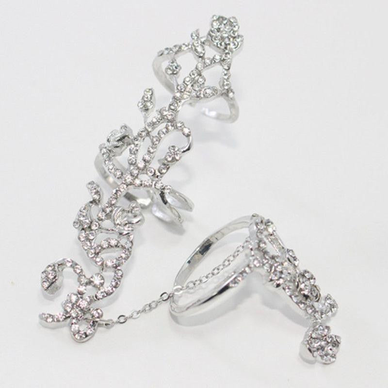Chain Link Ring Full Rhinestone Vintage Flower Double Finger Rings for Women Girl Party Jewelry Gift Accessories