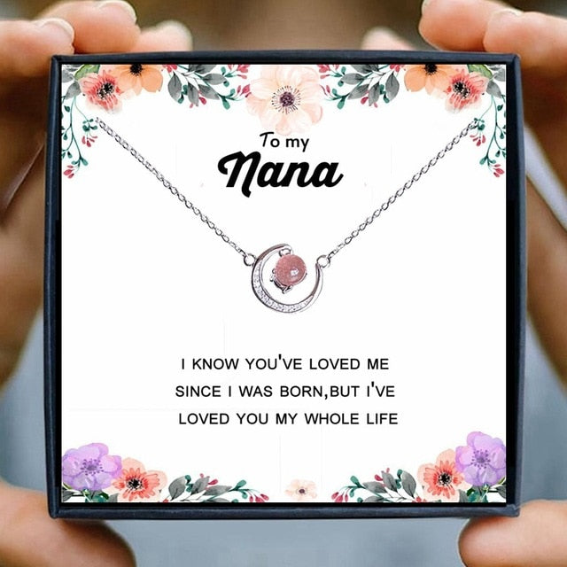 Nana Necklace Gift Women Moon Crystal Red Pink Beads Horn Crescent Pendant Necklace Friendship Grandma Granddaughter Jewelry
