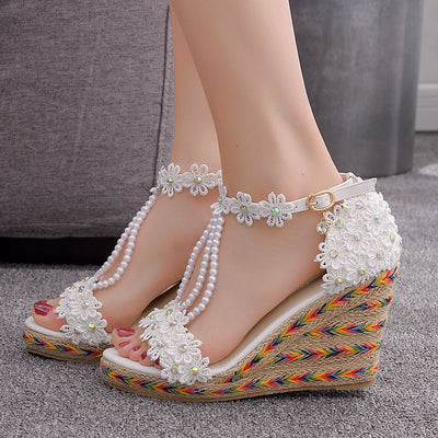 Crystal Queen Women Wedge Sandals White Lace Flowers Tassel Bridal Fine High Heels Open Toe Summer Shoes Bridal Wedding Shoes