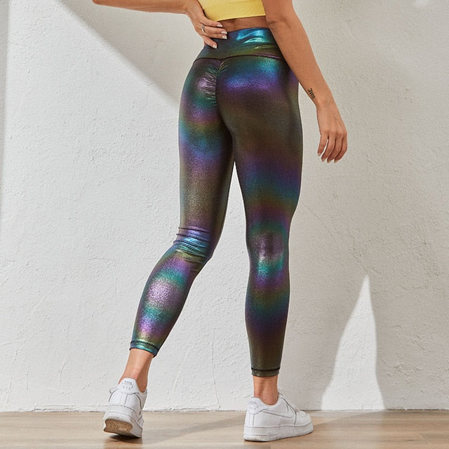 Gym Fitness Leggings Fashion Bright Pearly Leggings Women Put Hip Sexy Bubble Butt Legging Ladies Sportswear Workout