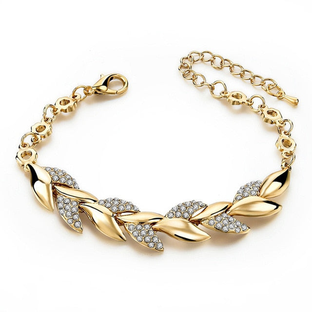 Bohemian Style Women Girls Gold Bracelet  Rhinestone Leaves Chain Bangle Luxury Wedding Jewelry