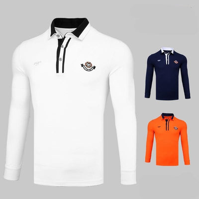 Long Sleeve Breathable T Shirts Men's Golf Shirts Fashionable Polo Shirts Turn Down Collar Comfortable Golf Tops