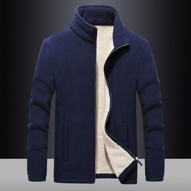 Winter Fleece Men Jackets Casual Warm Cashmere Coats Men's Solid Color Coat Thicken Windproof  7XL 8XL 9XL