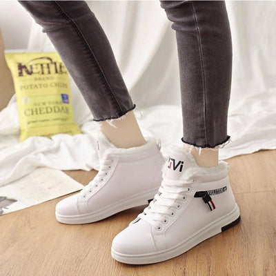 Winter Boots Women Ankle Boots Warm PU Plush Winter Woman Shoes Sneakers Flats Lace Up Ladies Shoes Women Short Snow Boots