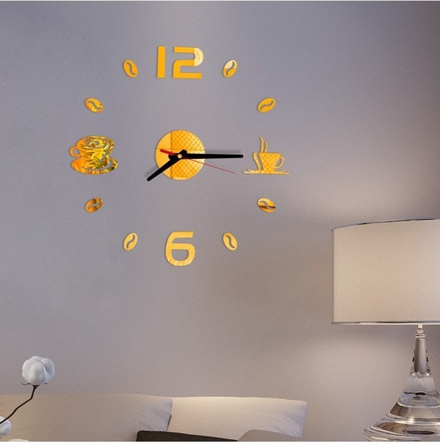 Mini Home Wall Clock 3D DIY Acrylic Mirror Stickers for Home Decoration Living Room Quartz Needle Self Adhesive Hanging Watch