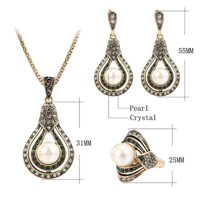3Pcs Vintage Jewelry Sets for Women Antique Gold Pearl Earrings Necklace Ring