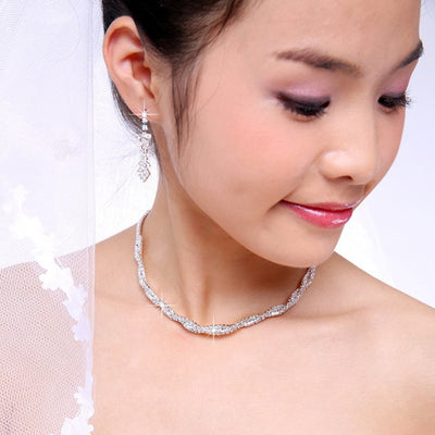 Bridal Wedding Prom Jewelry Crystal Rhinestone  Necklace & Earring Set