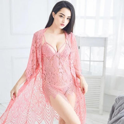 3 Pcs Hollow Sexy Women Robe+Nightgown+G-String Sets