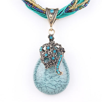 Natural Crystal Stone Necklace Peacock Style
