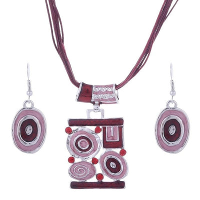 Fashion Enamel Leather Silver Plated Pendant Necklace Earring Jewelry Set