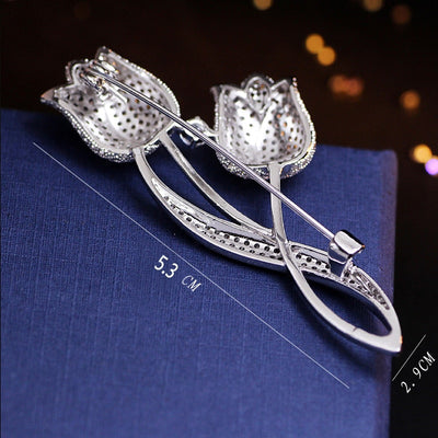 Silver Color Tulip Flower CZ Brooch Pin Elegant Rose Flower Cubic Zircon Brooches