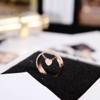 Fashion Heart Pendant Rose Gold Color Ring