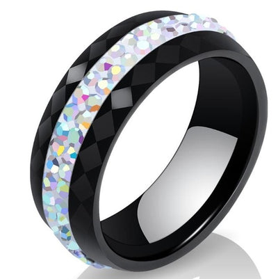 Black & White Crystal Ceramic Rings