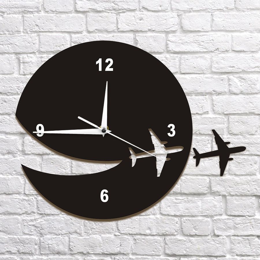 My Plane Flew Away Wall Art Home Decor Wall Clock Flying Plane Decorative Wall Clock Abstract Art Espcape DIY Clock Watch