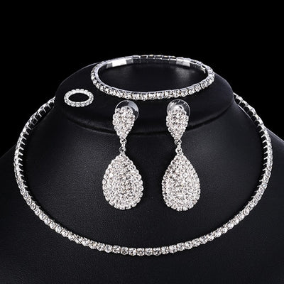 Crystal Jewelry Set for Women Necklace Bracelet Ring Earring