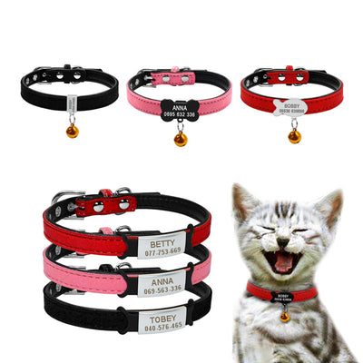 Soft Dog Cat Collar with Bell Personalized Safety Cat Name ID Collars and Tag Set Small Pet Puppy Collars