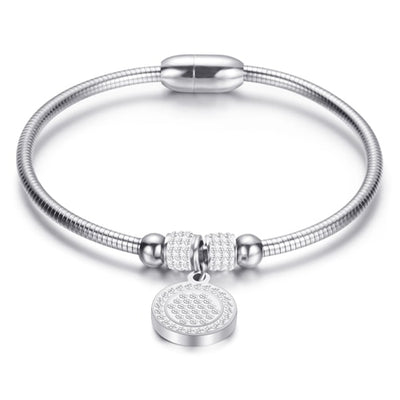 Crystal Bracelet Coin Magnet Clasp with Snake Chain