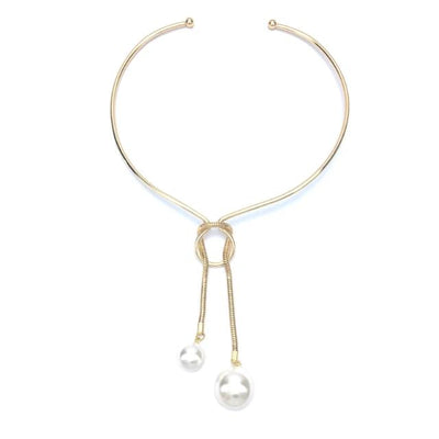 Alloy Torques Charm Simulated Pearl Long Pendants Necklaces for Women
