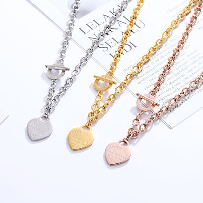 Classic Carve Forever Love Heart Pendant Necklace