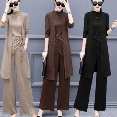 Knitted 3 Pieces Set Women Tracksuit Wide Leg Pants Women's Sets