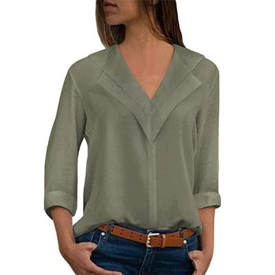 Long Sleeve Chiffon Blouse Double V-Neck Women Tops