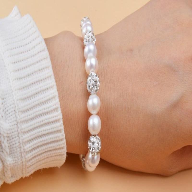 Natural Freshwater Pearl Bracelet with White Clay Zircon Ball