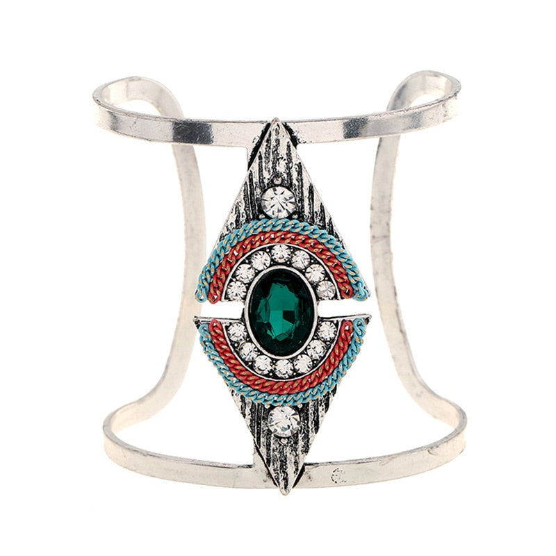 Bangle Bohemian Rhinestone Cuff Bracelet Ethnic Style Carving Wide Metal Bangle Adjustable Woman Bracelet
