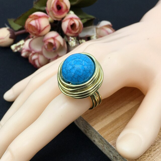 Wire Spiral Acrylic Handmade Rings Women Fashion Vintage Rings